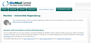 University of Regensburg is a member of BioMedCentral. No charges for authors! Hooray!